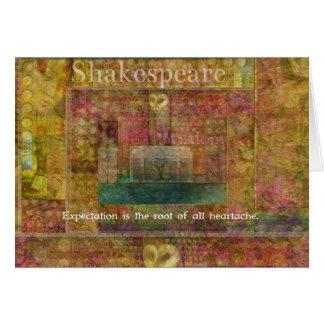Cita de William Shakespeare sobre expectativas Tarjeta De Felicitación