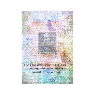 Cita de William Shakespeare sobre la sabiduría y t Lona Estirada Galerías