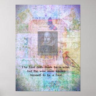 Cita de William Shakespeare sobre la sabiduría y t Póster