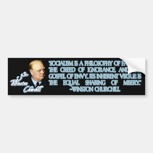 Cita de Winston Churchill en socialismo Pegatina Para Auto