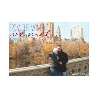 Cita del amor de la foto del compromiso impresión en lienzo