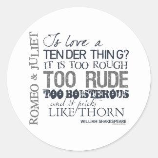 Cita del amor de Romeo y de Juliet Pegatina Redonda