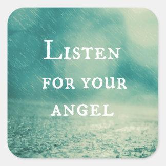 Cita del ángel pegatina cuadrada