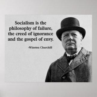 Cita del Anti-Socialismo de Churchill Póster