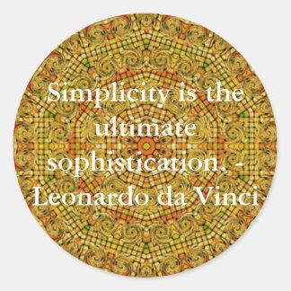 Cita del arte de Leonardo da Vinci Pegatina Redonda