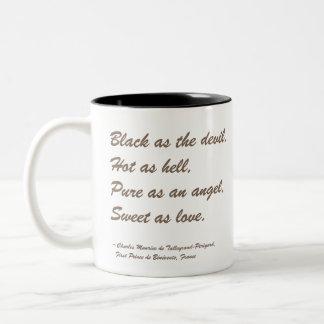 Cita del café: Negro como el diablo Taza De Dos Tonos