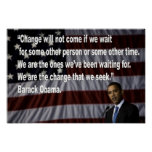 Cita del cambio de Barack Obama Póster