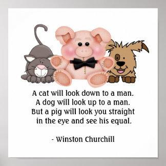 Cita del CERDO de Winston Churchill Póster