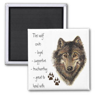 Cita del código del lobo, lobos animales imán cuadrado