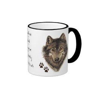 Cita del código del lobo, lobos animales taza
