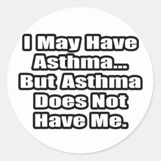 Cita del combatiente del asma pegatina redonda