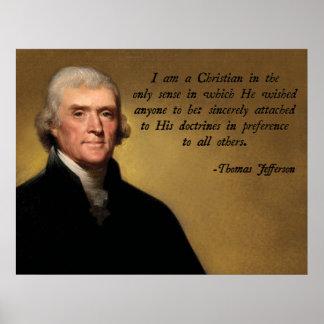 Cita del cristianismo de Jefferson Póster
