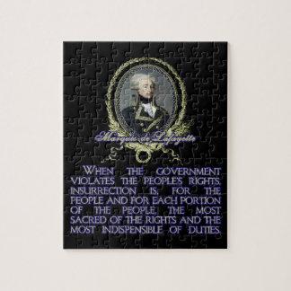 Cita del de Lafayette del marqués en la insurrecci Rompecabeza Con Fotos