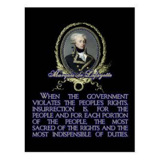 Cita del de Lafayette del marqués en la Tarjeta Postal