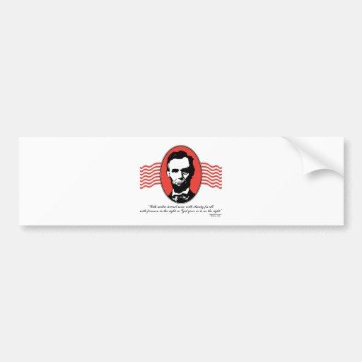 Cita del discurso inaugural de Lincoln segundo Pegatina De Parachoque