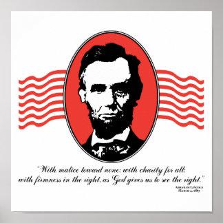 Cita del discurso inaugural de Lincoln segundo Póster