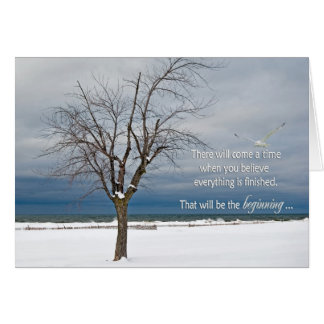 Cita del estímulo con el árbol tarjeta de felicitación