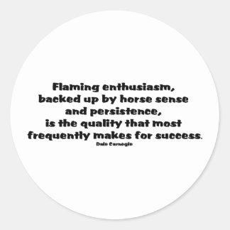 Cita del éxito pegatina redonda