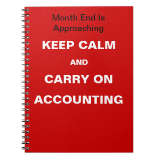 Cita del fin de mes de la contabilidad - guarde la libreta espiral