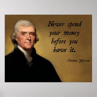 Cita del gasto de Jefferson Póster