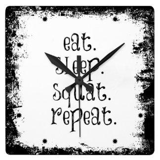 Cita del gimnasio de la aptitud: Coma, duerma, Reloj Cuadrado