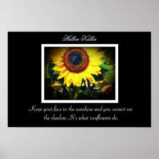 Cita del girasol de Hellen Keller Póster