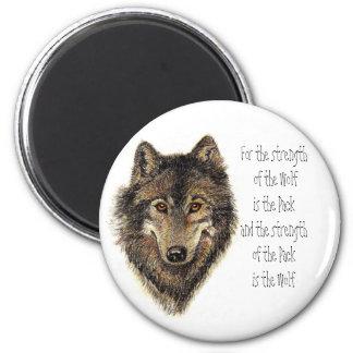 Cita del lobo y del paquete - colección animal imán redondo 5 cm