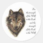 Cita del lobo y del paquete - colección animal etiquetas