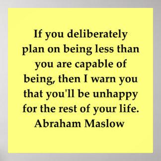cita del maslow de Abraham Póster