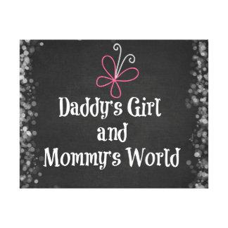 Cita del mundo del chica y de la mamá del papá impresiones en lienzo estiradas