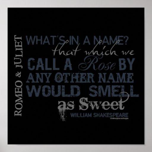 Cita del nombre de Romeo y de Juliet Poster