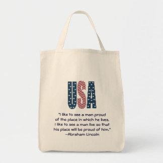 Cita del orgullo nacional de Abraham Lincoln Bolsa Tela Para La Compra
