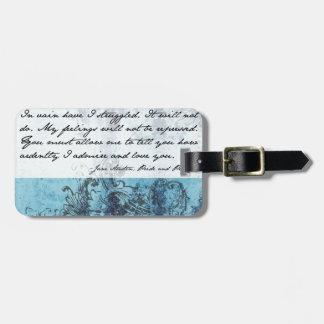Cita del orgullo y del perjuicio etiqueta para maleta