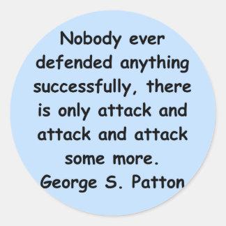 cita del patton de George s Pegatina Redonda
