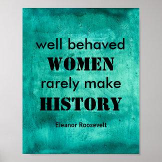 Cita del poster de Eleanor Roosevelt en mujeres