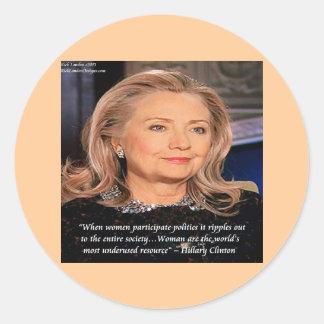 Cita del recurso de las mujeres de Hillary Pegatina Redonda