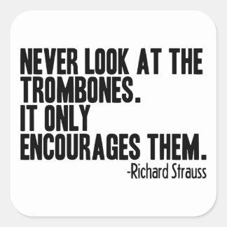 Cita del Trombone Pegatina Cuadrada