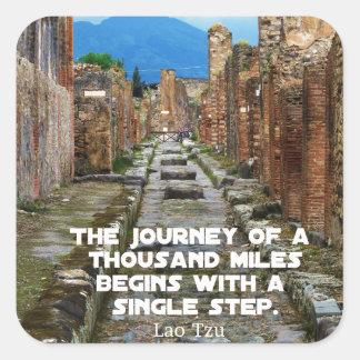 Cita del viaje del VIAJE de Tzu del Lao Pegatina Cuadrada