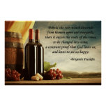 Cita del vino de Benjamin Franklin Poster