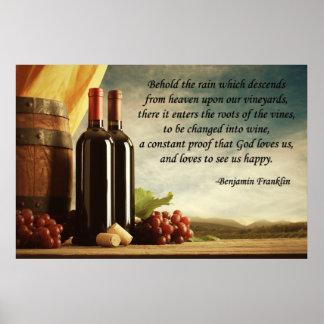 Cita del vino de Benjamin Franklin Póster