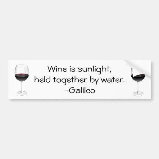 Cita del vino de Galileo Pegatina Para Auto