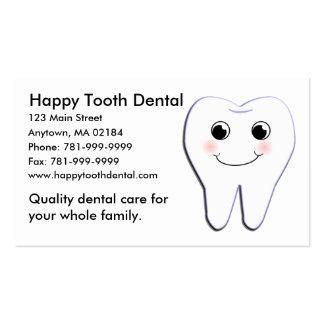 Cita dental del diente feliz de encargo del KRW Tarjetas De Visita