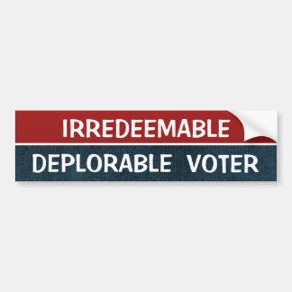 Cita divertida de Hillary del votante deplorable Pegatina Para Auto