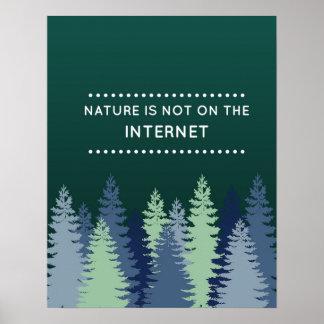 Cita divertida de la naturaleza y del Internet Póster
