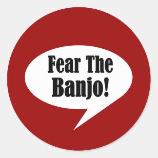 Cita divertida del banjo pegatina redonda