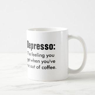 Cita divertida del coffe: Depresso Taza Básica Blanca