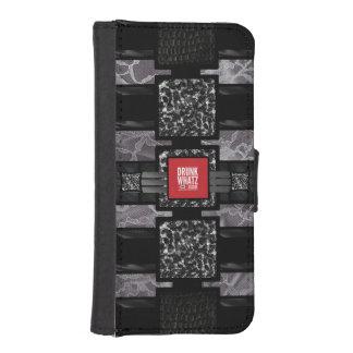 Cita divertida del cordón del leopardo fundas tipo billetera para iPhone 5