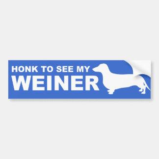 Cita divertida del perro de Weiner (Dachshund) Pegatina Para Auto