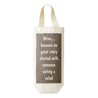 Cita divertida del vino: Vino contra la ensalada Bolsa Para Botella De Vino Zazzle HEART
