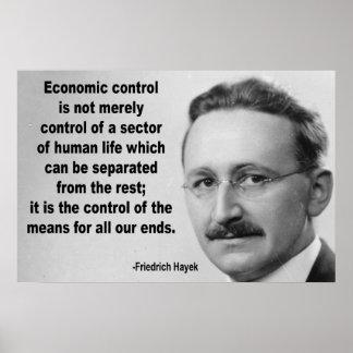 Cita económica del control de Hayek Póster